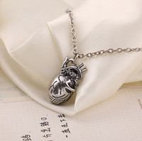 anatomical heart pendant - 2015 New Arrival Anatomical Heart Shaped Pendant Necklace Fashion Personality Sweater Chain Necklaces For Men s Statement necklace jewelry