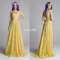 al dresses - Hamda Al Fahim Evening Dresses with Long Sleeve Sheer Bateau Neck Backless A Line Yellow Lace Formal Gowns Long Bridesmaid Prom Dresses