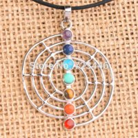 beautiful symbol - Beautiful Chakra Beads Electric Power Symbol Cobweb Spider Reiki Pendulum Metal Pendant Charms Health Amulet Jewelry
