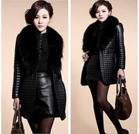 Wholesale New winter women fur coats Slim Plaid Big raccoon fur collar Sheep skin leather and cotton leather jacket Lady long coat new arrive