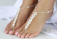 Cheap One-piece Pearls Barefoot Sandals Vintage Anklets for Women Summer Beach Wedding Jewelry Ankle Bracelet Handmade Nude Shoes