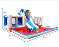 Wholesale large double platform shark castle inflatable slide water pool