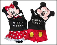 Wholesale 2015 kids swim suit boys and girls Mickey Minnie Swimming outfit children swim caps one piece swimwear beach suit J062304