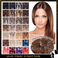 28 Colors Available 24 inch clip in human hair extensions - Clip Hair Extension Indian Remy Human Hair quot quot Real Human Hair g Clip In Virgin Human Hair Colors