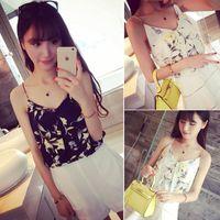 Wholesale 2015 summer new Korean fashion sweet temperament V neck design sense fold chiffon camisole female flowers