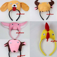 achat en gros de animaux de ferme poulet-Cute Children Animal 3D Snake Rabbit Chick Farm Animal Chicken Party Costume Cute Headband Prop