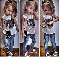 Girl cat - 2015 European New Arrive Children girls summer outfits sets hot kid girl cute cat print shirt denim jeans Kids Clothing sets