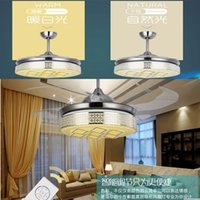 Wholesale 42 quot ceiling LED pendant fan invisible cooling fan invisible fan LED lighting remote control function color change LED ceiling fan