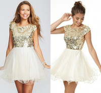 Wholesale Skirts For Clubbing - 2015 Blingbling Goldens Sequins Top Homecoming Party Dresses for Girls Tulles Skirt Crew Neck with Cap Sleeves Short Prom Cocktail Gowns
