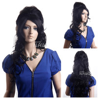 amy winehouse wig - Hot Selling Discount Wigs New arrival long wavy Amy winehouse hair style wigs Halloween Synthetic Black Hair Wigs