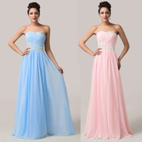 Wholesale Grace Karin In Stock Sexy Prom Dresses Strapless Sequins Floor Length A Line Chiffon Evening Formal Gowns CL6107