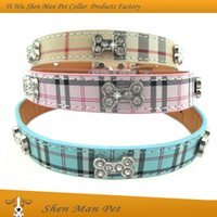 Wholesale 2016 hot sale Charm Cute Bling Crystals Rhinestone Bone Scotland Plaid Puppy Pet Dog Collar for small dog