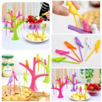 animal shaped snacks - Party Home Decor Bird Fruit Snack Dessert Forks Tool Tree Shape Holder Rack New