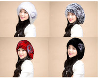 Wholesale Beautiful Bridal Rabbit Fur Hats Warm Winter Hats High Quality Knitted Caps Four Colors