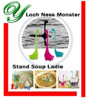 Wholesale Loch Nessie Soup Ladle dinosaur stand long handled spoon rest holder cooking kitchen utensils flatware cutlery creative animal tableware