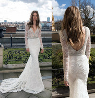 Wholesale long sleeves wedding dresses berta bridal gowns pearls beaded sequin lace deep v neckline backless mermaid wedding gowns