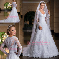 plus size wedding dresses with sleeves - Modest Long Sleeve Wedding Dresses Sexy V Neck Plus Size A Line Court Train Sheer Lace Bridal Gowns with Button Back Noivas LT101