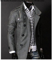 Wholesale Fashion Stylish Men s Trench Coat Winter Jacket mens mid long slim Double Breasted Coat Overcoat woolen Outerwear M XXL NEW ARRIVE