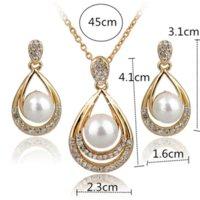 austrian crystal teardrop earrings - Fashion Loverly Cute Teardrop Necklace Earring Jewelry Sets Full Austrian Crystal Jewelry Set Pearl Set For Women SET140029