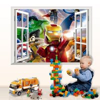 Wholesale Game LE GO Iron Man Hulk D Window View Wall Sticker Kids Room Decor Mural Decal