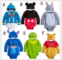 Wholesale 6 Colors Baby Boys Girls Cartoon Romper One Piece With Hat Toddler Baby Jumpsuit Overall Kids Infants Onesies Climb Clothing Newborn Rompers