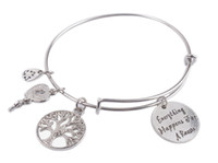 Wholesale 1PCS Expandable Wire Bangle Everything Happens For A Reason Charm Bracelet