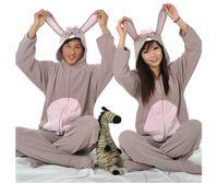 adult bunny pajamas - Fashion New Designer Cosplay kawaii Winter Spring Polar Fleece Women Men Ladies Adult Footed Onesie Gray Rabbit Bunny Pajamas Hooded Romper
