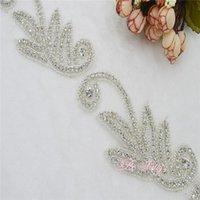 Wholesale Rhinestone Applique Accessories Sold by Yard Silver special design for bridal sash headband rhinestone trims for wedding decoratiion PR38