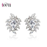 Wholesale Teemi Brand Luxury Wedding Jewelry White Gold Plated Clear Cubic Zirconia Stone Bridal Stud Large Earrings for Women Brincos Accessories