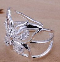 Wholesale 2016 new ring sterling silver fashion hot stone butterfly ring opening