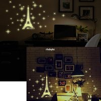 animal tower wall sticker - 10pcs The new factory direct fluorescent wall stickers decorative wall stickers DIY fashion bedroom Y0034 Luminous Eiffel Tower