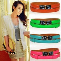 Wholesale Clearance gem buckle candy colored patent leather ladies leather thin belt Korean fashion decoration thin belt female models