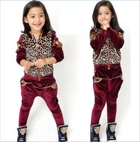 Wholesale High Quality Girls Children Leopard Printing Hooded Autumn Sport Suits Outfits Children Girl Kids Sleeve Leopard Casual Tracksuits