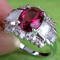 red plates - 2015 New Jewel Sparkly Lady Evening Party Ring Red White Tourmalin Topaz Gemstones K AR21 Oval Cut White Gold Plated Ring Size