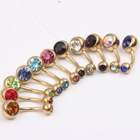 Navel & Bell Button Rings banana body jewelry - Navel belly ring B12 Mixed Color g stainless steel gold Belly banana Ring Navel Button Ring Body Piercing Jewelry