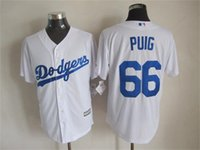 Cheap Newest Baseball Jerseys Dodgers 2015 Cool Base #66 Puig Home Jersey White Color Made in Honduras Size M-XXXL Mix Order