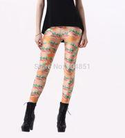Cheap Drop Ship gym clothes women Printed Hamburger Orange Food Leggins Digital Printing Fun Leggings Fashion Girls Punk Pant