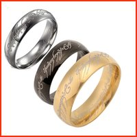 Wholesale 3 colors mm Titanium finger ring The Hobbit Lord of the Rings k gold silver black Magic Rings for women men fashion jewelry