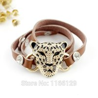Wholesale Gold Color Alloy Leopard Head Colorful Leather Bracelets and Bangles New Design Costume Jewelry For Women