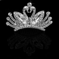 Wholesale Small Cute Shining Butterfly Swan Rhinestone Comb Hair Accesspries Jewelry Wedding Crown for Women cm