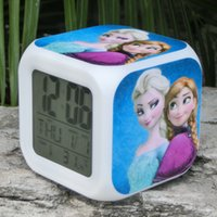 Wholesale 20PCS Frozen Alarm Clocks LED Change Digital Alarm Clock frozen Anna and Elsa Thermometer Night Colorful Glowing toys