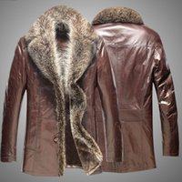 Wholesale 2014 winter mens leather fur coat sheepskin overcoat outerwear coats for men genuine leather Raccoon fur Plus size Dropship