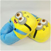 cartoon slippers - 2015 Winter New Arrival Minions Slippers For Female Men Hot Popular Despicable Me D Single Double Eyes Cartoon Indoor Slippers Size cm
