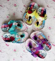 Wholesale 2015 new HOT Snow princess Casual Slipper Shoe ELSA ANNA Flip Flops Children Cartoon Beach Shoes Household Shoes pairs