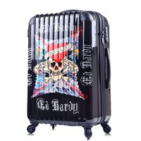 Wholesale Luggage travel limit buy pirate skull import customs lock caster cabin inch trolley case