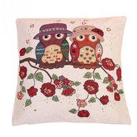 Wholesale New Cute Owl Pattern Cotton Linen Pillow Case Sofa Throw Cushion Cover Home Decor Square