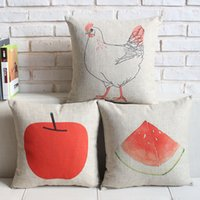 apple decorative pillow - novelty Christmas gift farm hen red watermelon apple pattern linen Cushion Cover home decorative throw pillow Case