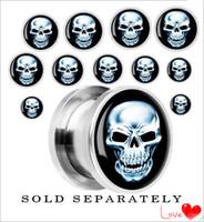 Wholesale 316L Stainless Steel Skull Screw Ear Gauges Plugs Ear Plugs Tunnels Body Piercing Jewelry Flesh Tunnel Stretchers Piercing jewelry mm