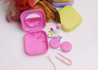 Wholesale New Mini cute color plastic Contact Lenses case boxes travel kit set Contact lens holder storage with Small Mirror
