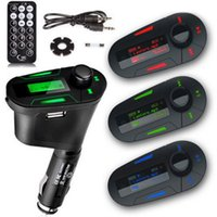 Wholesale New Green Car Kit Music Player Wireless FM Transmitter USB Cable Remote Control hot selling